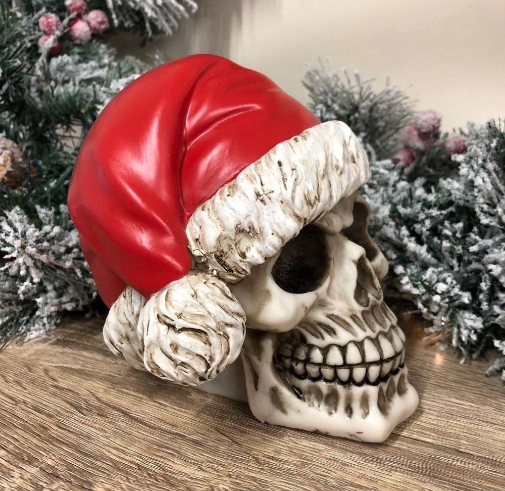 Large Santa Claus Skull Decoration Funny Gothic Christmas Ornament